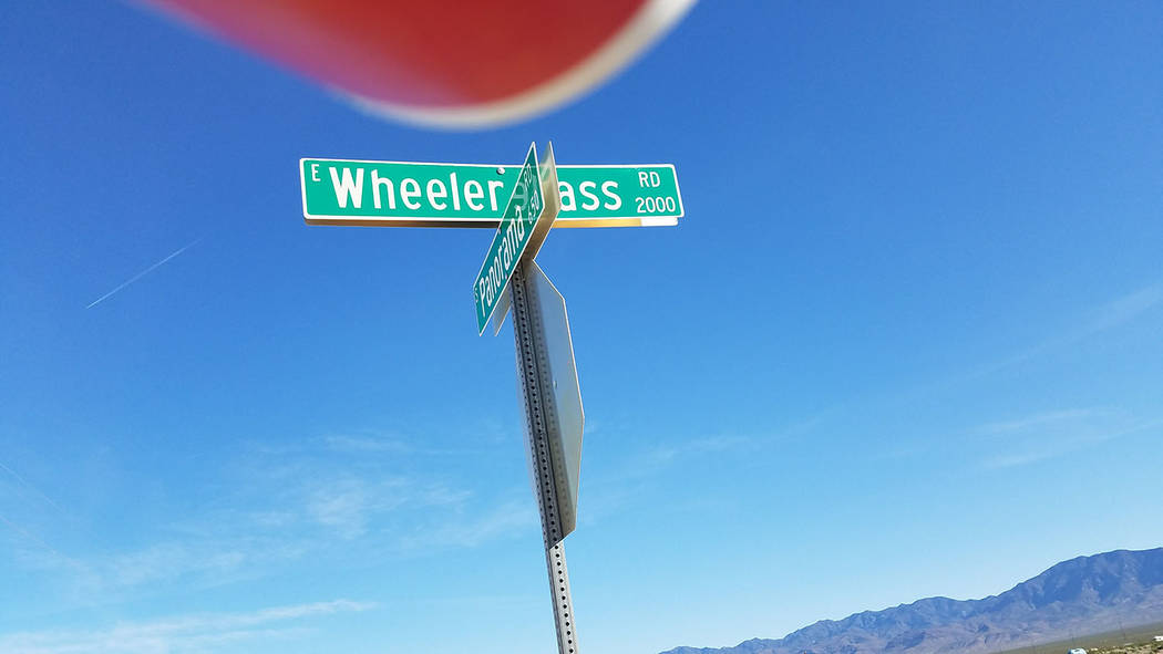 David Jacobs/Pahrump Valley Times A sign for Wheeler Pass Road leading out of Pahrump. The remains were found near Wheeler Pass Road in Clark County, authorities said.