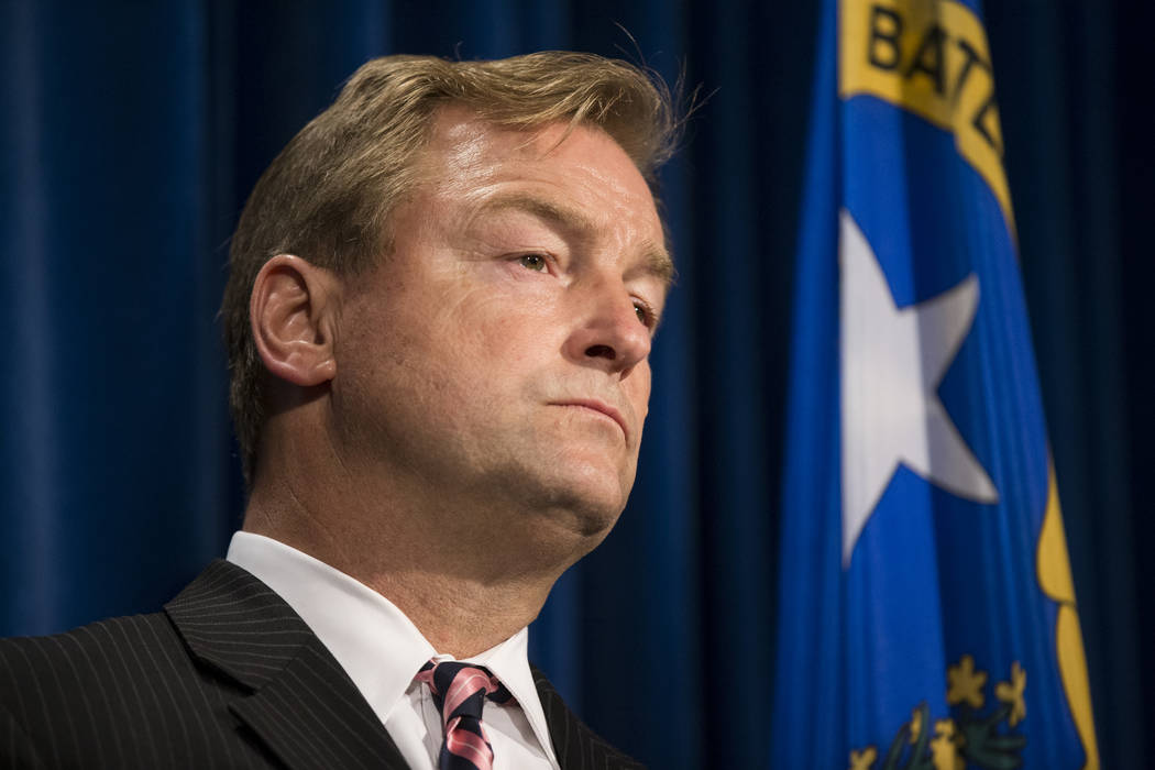 Erik Verduzco/Las Vegas Review-Journal U.S. Sen. Dean Heller, D-Nev., during a news conference in Las Vegas, on Wednesday Oct. 4, 2017.