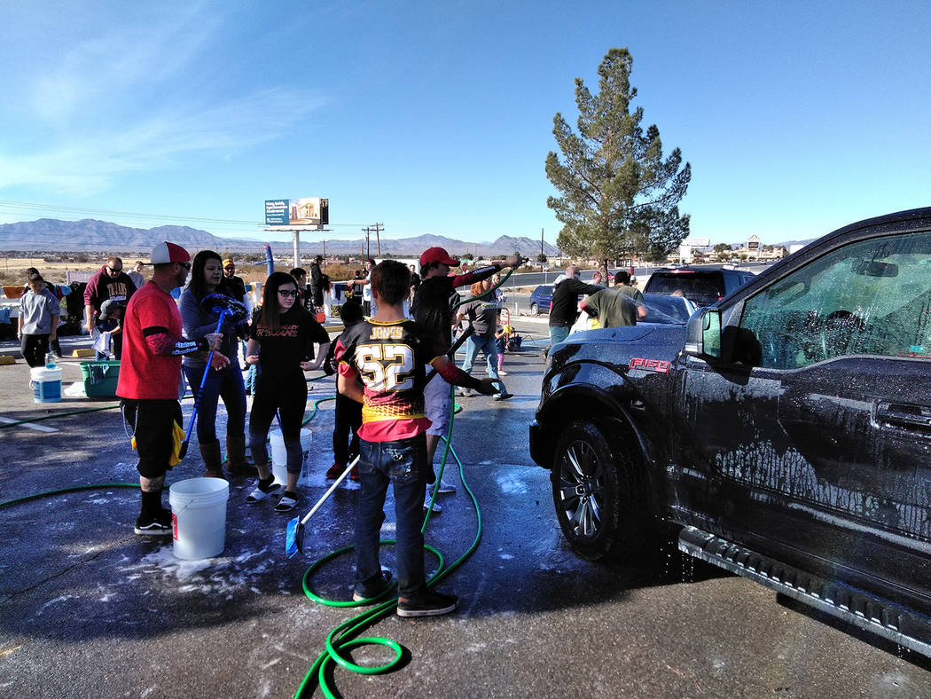 Selwyn Harris/Pahrump Valley Times  Several dozen volunteers turned out in support of the two Rosemary Clarke Middle School students. Both suffered second and third degree burns after gasoline was ...
