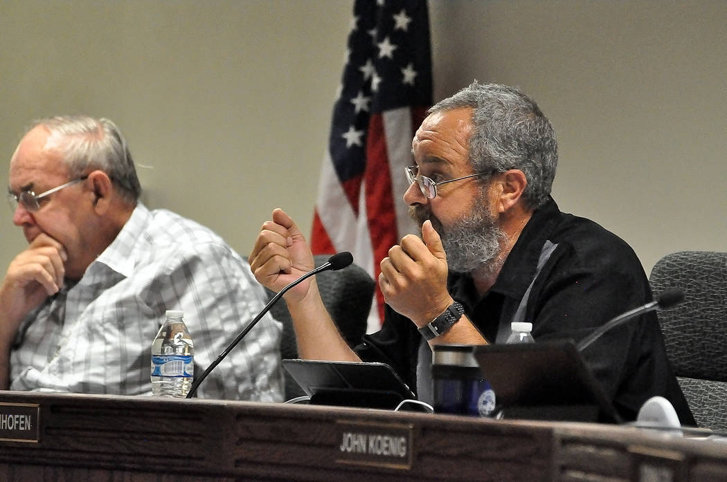 Horace Langford Jr./Pahrump Valley Times  Nye County Commission Chair Dan Schinhofen and two other commissioners voted to approve an offer to purchase Lakeview Executive Golf Course at a Dec. 8 me ...