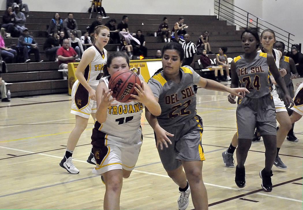 Horace Langford Jr./Pahrump Valley Times -  PVHS Girls Basketball vs Del Sol, #42 Kathryn Daffer