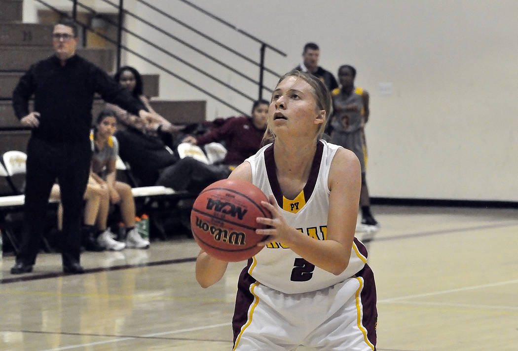 Horace Langford Jr./Pahrump Valley Times Alyvia Briscoe of the Pahrump Valley girls basketball team prepares to shoot in a game against Del Sol on Nov. 28.