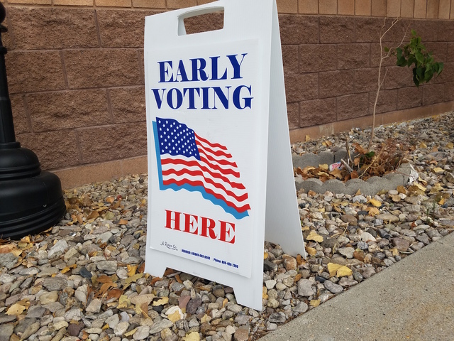 David Jacobs/Pahrump Valley Times A sign for early voting in 2016 is shown in Nye County. Perhaps we are starting to be fed up with the negative campaigns, columnist Tim Burke writes.