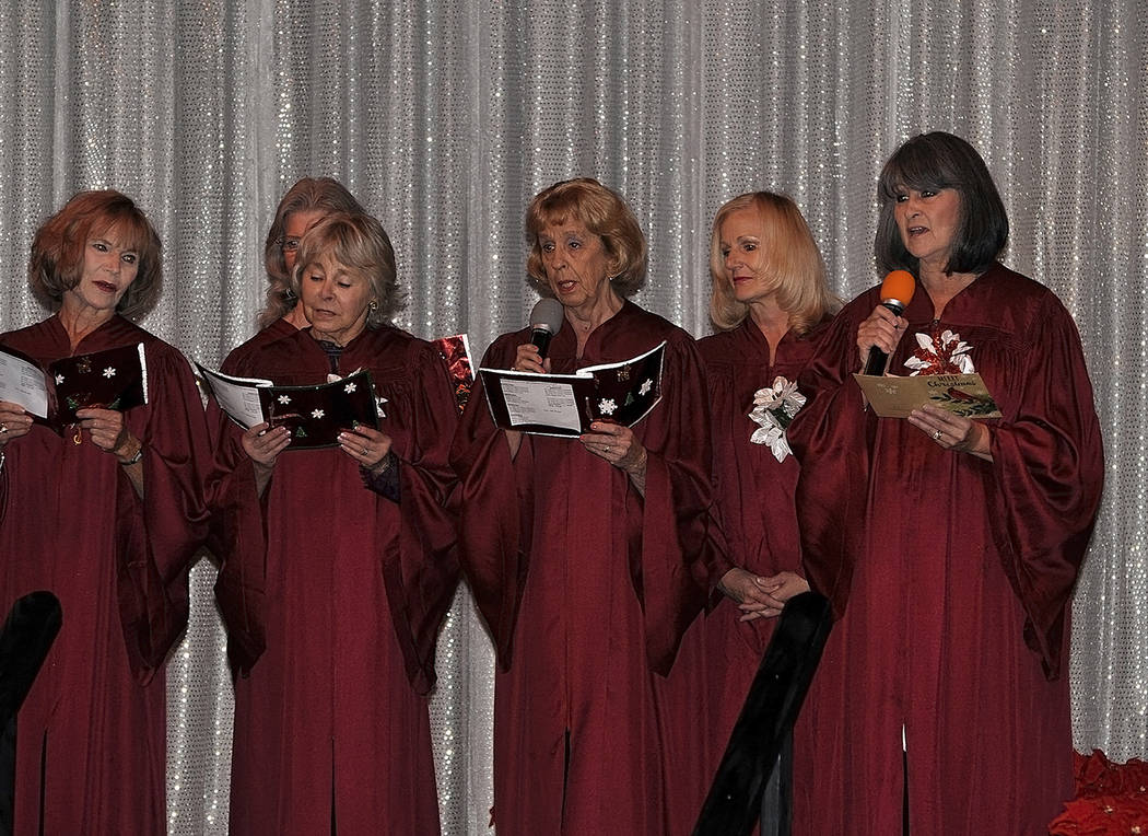 Horace Langford Jr./Pahrump Valley Times  A special Christmas Medley, courtesy of the Ms. Senior Golden Years Queen's Court Choir was on the bill during the Nevada Silver Tappers annual Communit ...