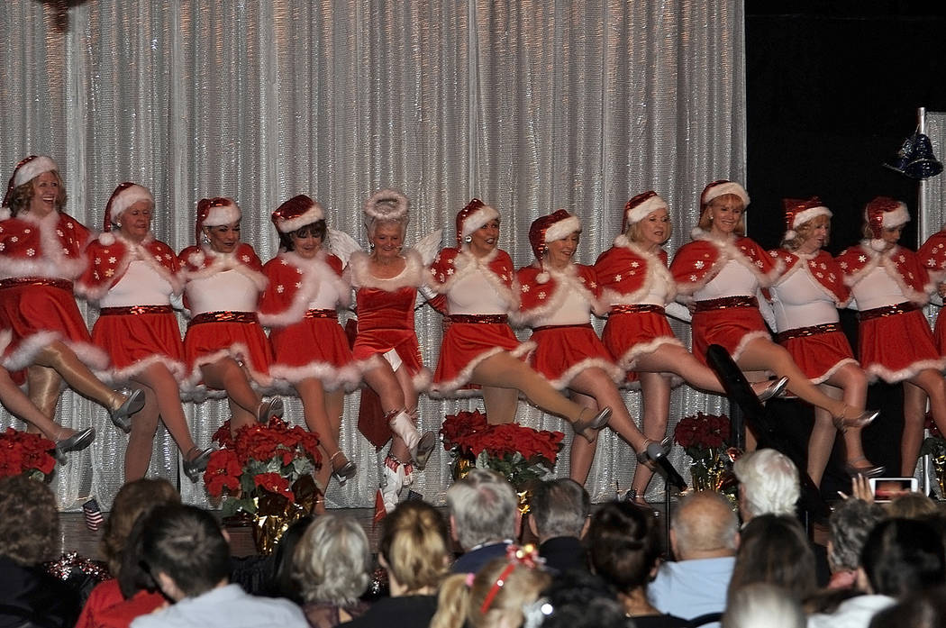 "Horace Langford Jr./Pahrump Valley Times During a 'chorus line' type routine, the Nevada Silver Tappers perform the holiday favorite, ""Santa Clause is coming to town,"" complete with synchronized k ..."