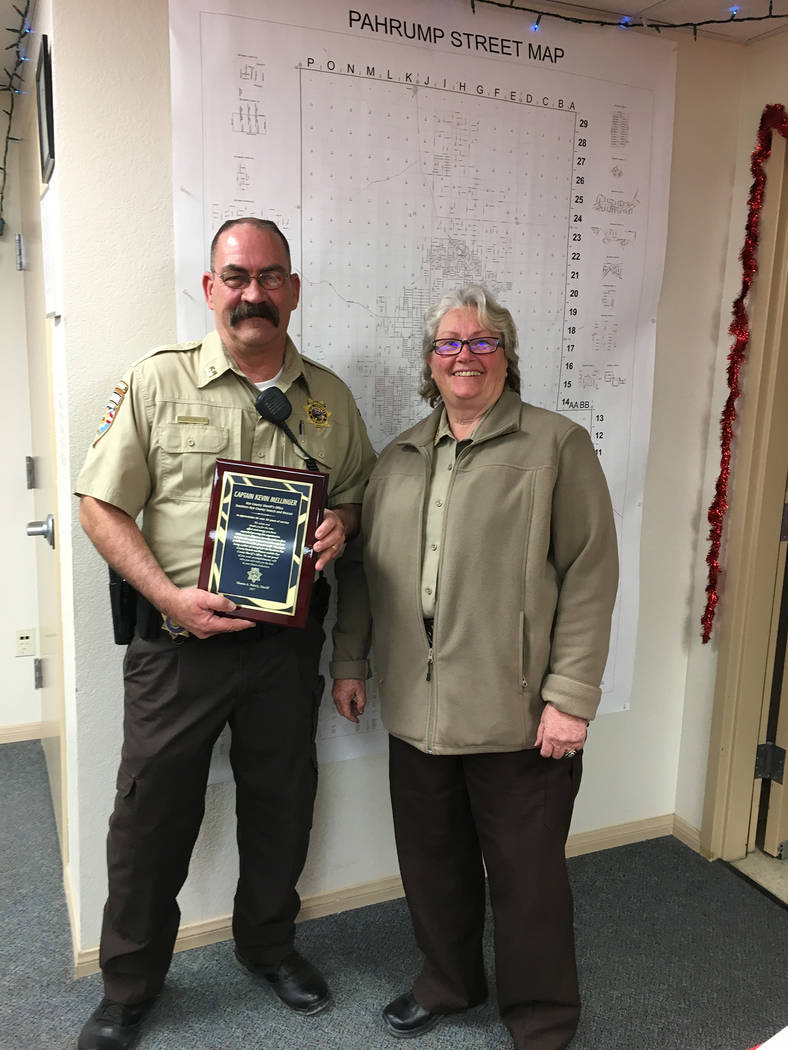 Special to the Pahrump Valley Times Nye County Sheriff Sharon Wehrly recently honored Southern Nye County Search and Rescue Capt. Kevin Mellinger. He was presented a plaque in appreciation for app ...