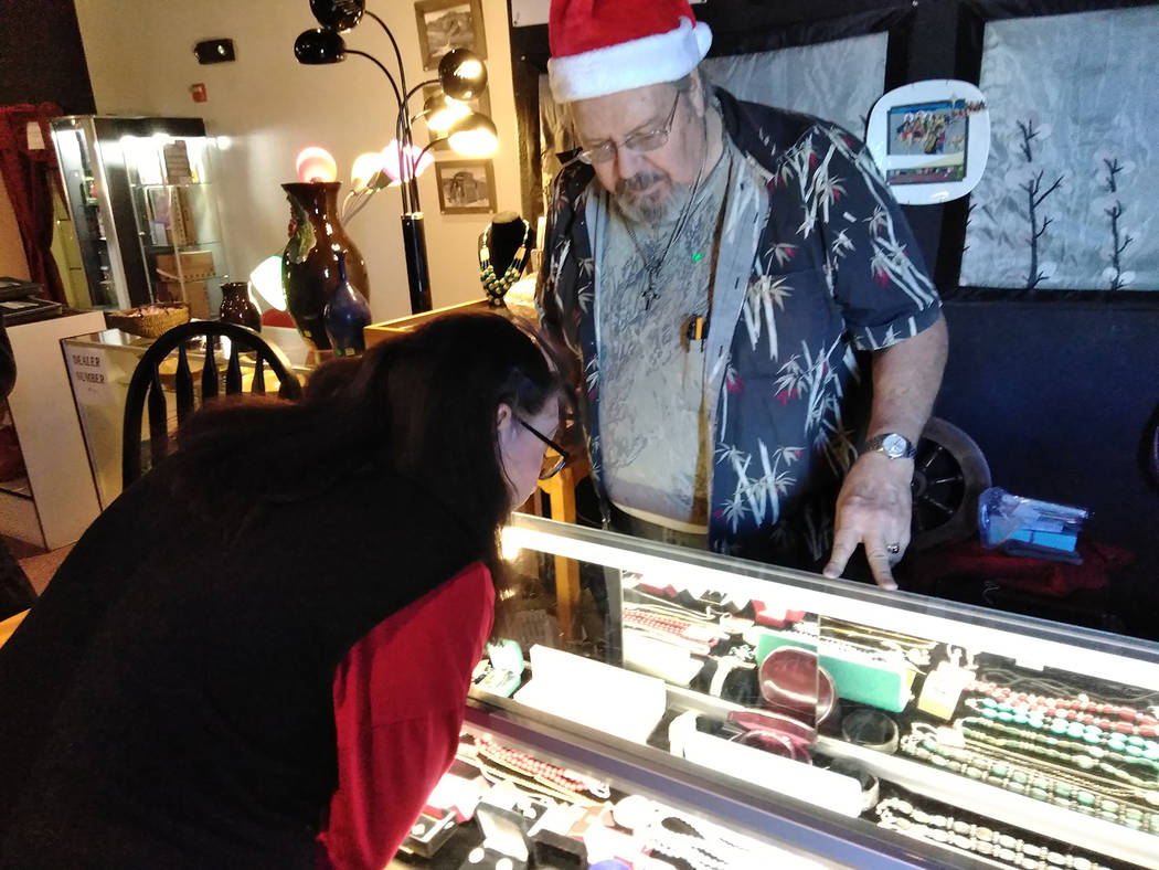 """Selwyn Harris/Pahrump Valley Times  Silver and Goldsmith Samuel Edwards is one of 11 vendors doing business at the newly opened 'Magic Kingdom,"""" in Pahrump. Edwards, a jeweler, also creates on ..."""