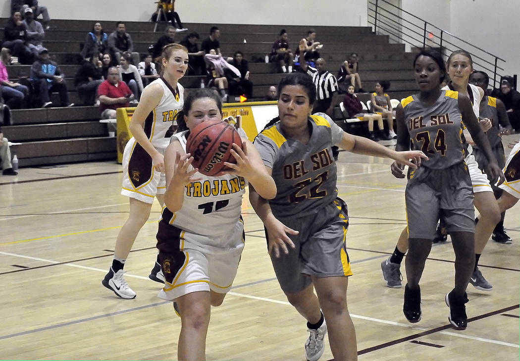 Horace Langford Jr./Pahrump Valley Times  Kathryn Daffer of Pahrump Valley is shown going after the basketball in a game earlier this season. The Trojans recently competed in the Lady Bulldog Invi ...