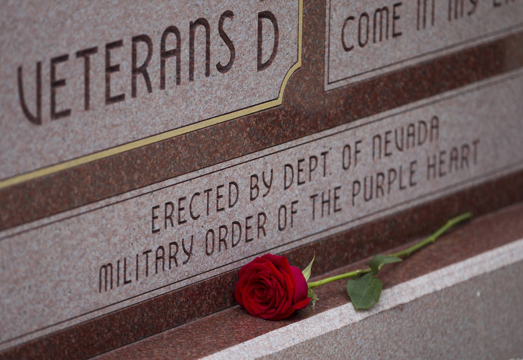 Erik Verduzco/Las Vegas Review-Journal A rose during the National Purple Heart Day memorial ceremony at the Southern Nevada Veterans Memorial Cemetery in Boulder City earlier this year.
