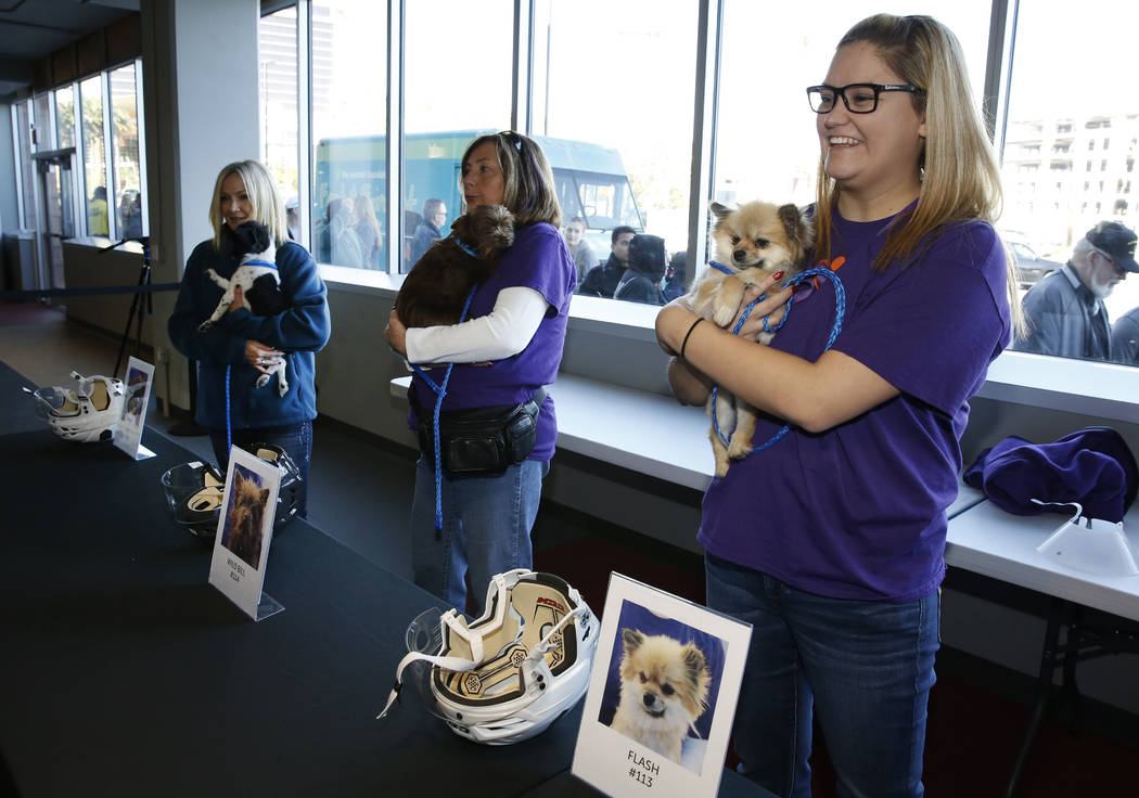 Volunteers, including Sydney Yanez, right, hold dogs at City National Arena Monday, Dec. 18, 2017, in Las Vegas. The Vegas Golden Knights and the Animal Foundation held a Pucks for Paws community  ...