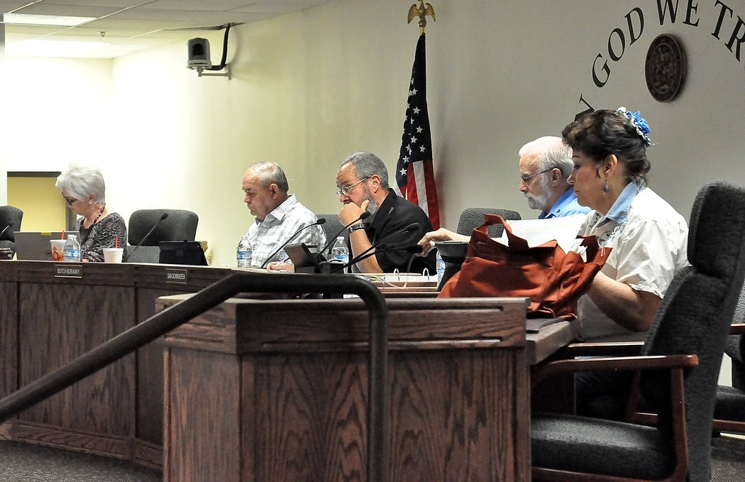Horace Langford Jr./Pahrump Valley Times  The Nye Commission voted to send recommendation to the Nevada Governor's Office of Energy to approve tax abatement's for a 100 megawatt solar farm in Amar ...