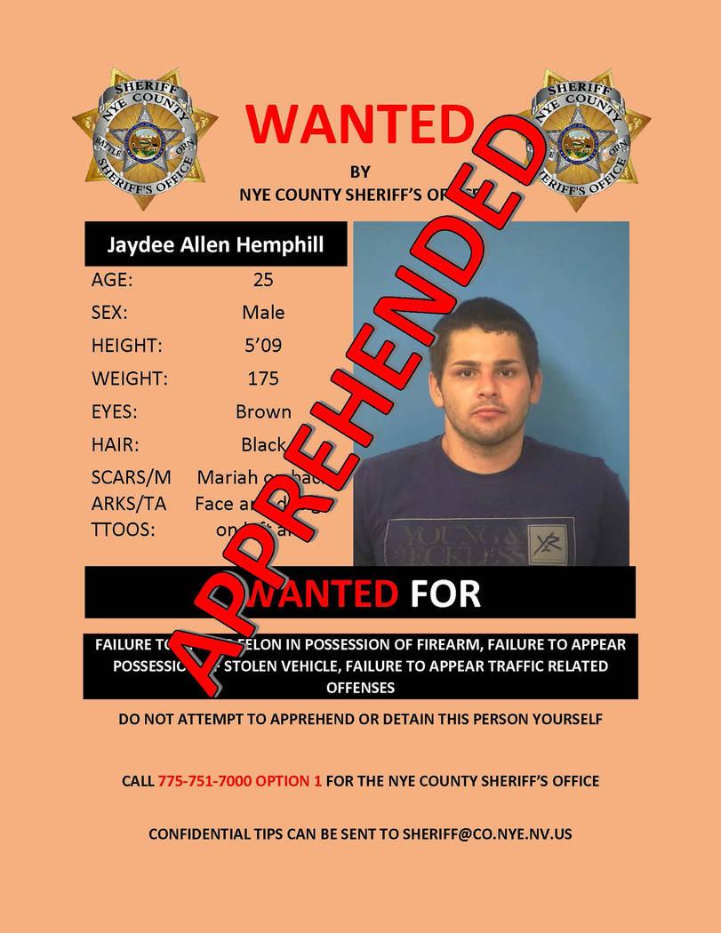 Special to the Pahrump Valley Times  Jaydee Allen Hemphill, 25, was sought since July by local authorities on several failure to appear warrants. He was captured on Friday evening Dec. 22, at the  ...