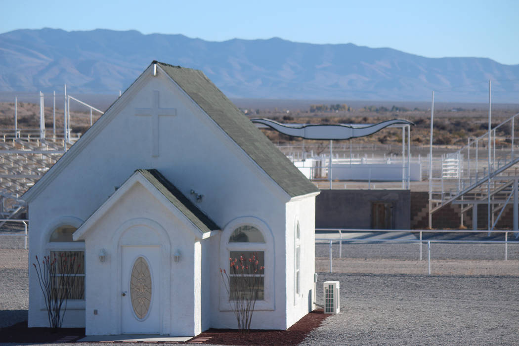 Jeffrey Meehan/Pahrump Valley Times An on-site church at a 30-acre property at 9381 S. Homestead Road is set to house several weddings in the next several months. Pahrump resident Stacy Frick is s ...