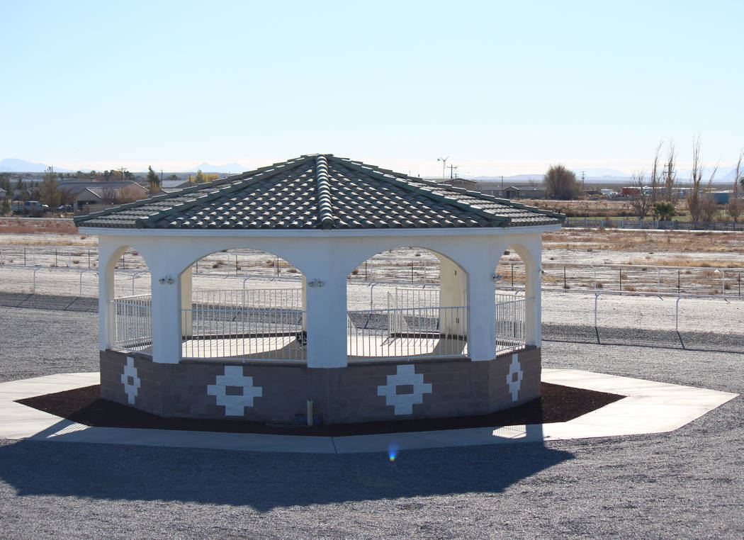 Jeffrey Meehan/Pahrump Valley Times A gazebo that can hold up to roughly 90 guests at 9381 S. Homestead Road. The property is the site of The Pink Chapel, a venue for weddings and other events, se ...