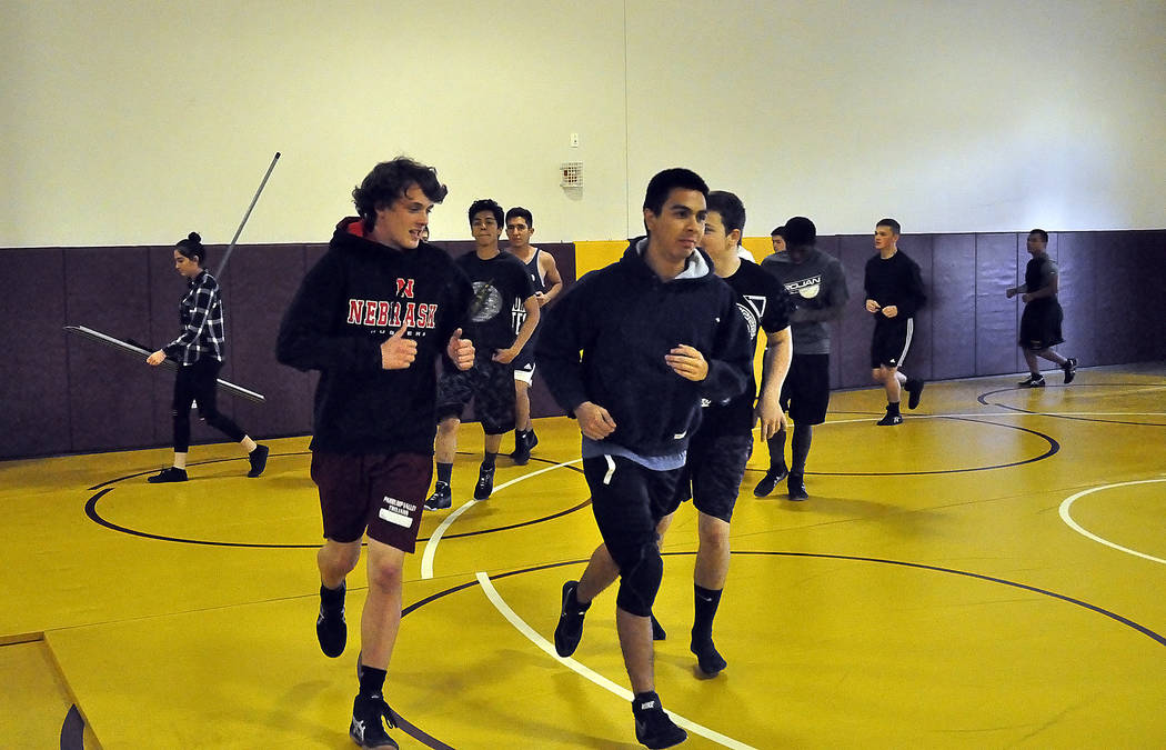 Horace Langford Jr./Pahrump Valley Times Wrestlers on the Pahrump Valley High School wrestling team are shown practicing earlier this season. The team is set to kick off 2018 by hosting its next s ...