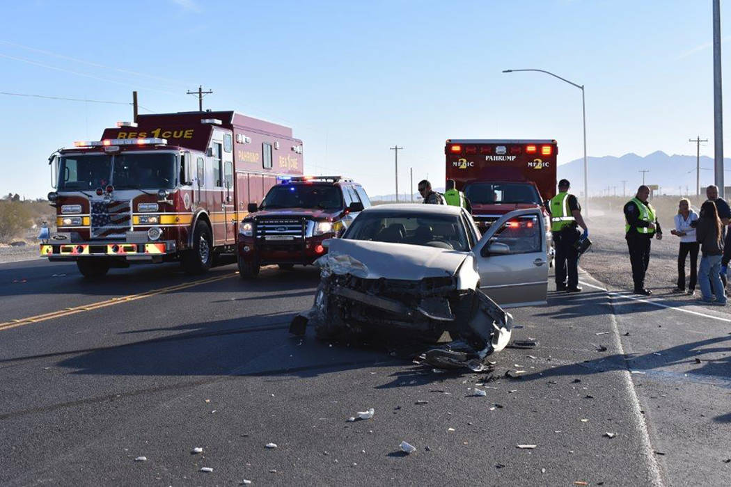 Special to the Pahrump Valley Times Pahrump fire crews were dispatched to a single-vehicle rollover crash along Bell Vista Road at Highway 160 on Wednesday morning December 27. The driver had self ...