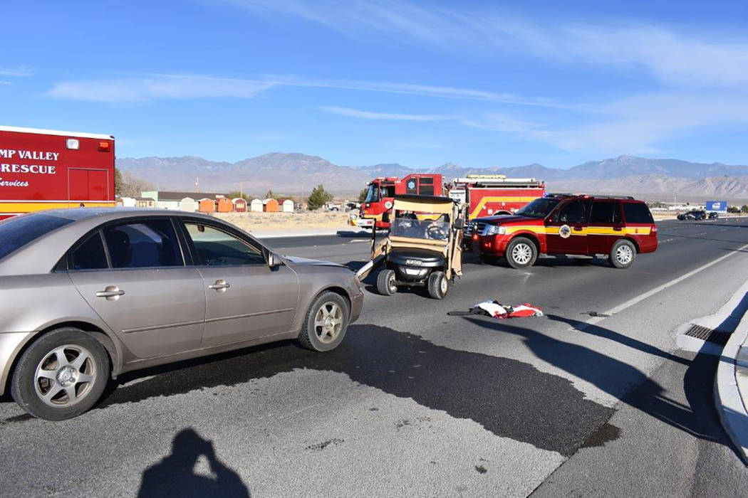 Special to the Pahrump Valley Times  Local fire crews responded to a golf cart versus a motor vehicle collision on Highway 372 early Monday afternoon. The initial investigation revealed that upon  ...