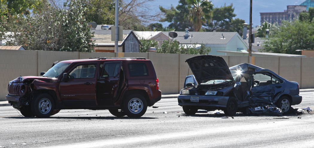 Gabriella Benavidez/Las Vegas Review-Journal Preliminary data shows that 303 traffic fatalities occurred on Nevada roads in 2017. This photo was taken at the scene of a fatal wreck in Southern Nev ...