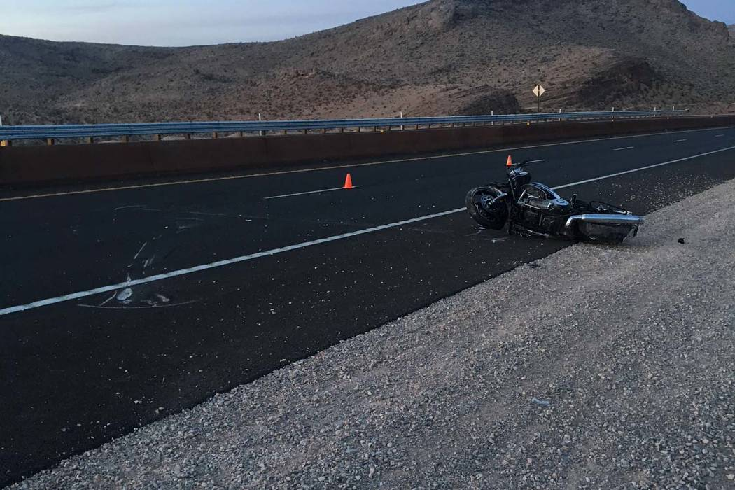 Nevada Highway Patrol The crash along Nevada Highway 160 was the first fatality investigated by the NHP Southern Nevada this year.  The victim was a 62-year-old North Las Vegas man, the NHP reported.