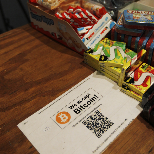 Las Vegas Review-Journal A sign indicating the acceptance of Bitcoin is shown in this file photo. Nevada Secretary of State Barbara Cegavske is reminding Nevada investors to be cautious about inve ...
