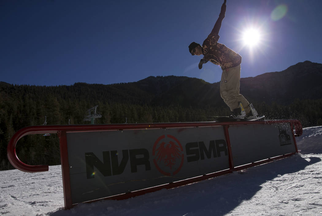 Richard Brian/Las Vegas Review-Journal  A snowboarder hits a rail on the bunny hill at Lee Canyon in December. The third annual Ruby Cup is set for Saturday at the resort. The all-ages event will  ...