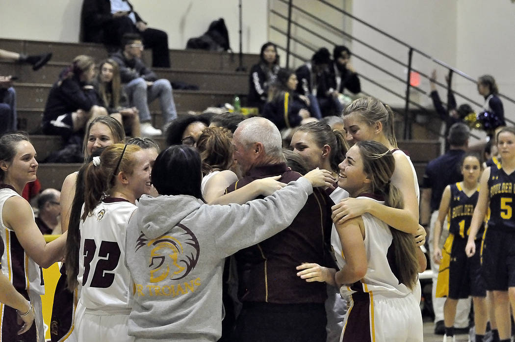 Horace Langford Jr./Pahrump Valley Times  Pahrump Valley girls Coach Bob Hopkins is shown celebrating his 500th win on Monday night in Pahrump when his team defeated Boulder City. Hopkins was resp ...