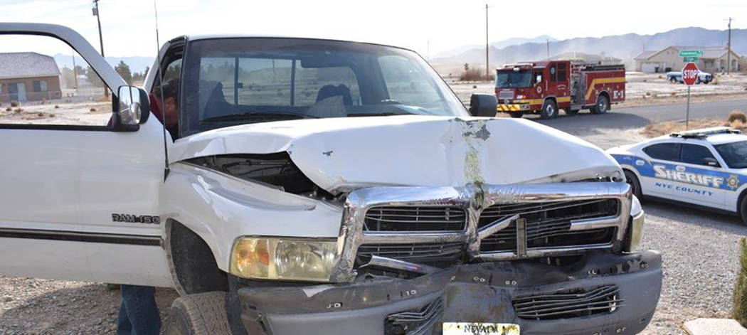 Special to the Pahrump Valley Times Local emergency crews are investigating a single-vehicle crash occuring just before 2 p.m. on Wednesday Jan. 3, along the 5600 block of N. Alderwood Pl. It rema ...