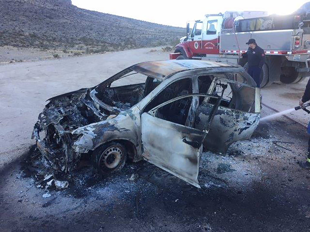 Special to the Pahrump Valley Times Pahrump fire crews were dispatched to Highway 160 near the Sandy Valley exit for a vehicle fire on Tuesday January 3. The mutual-aid assignment involved working ...