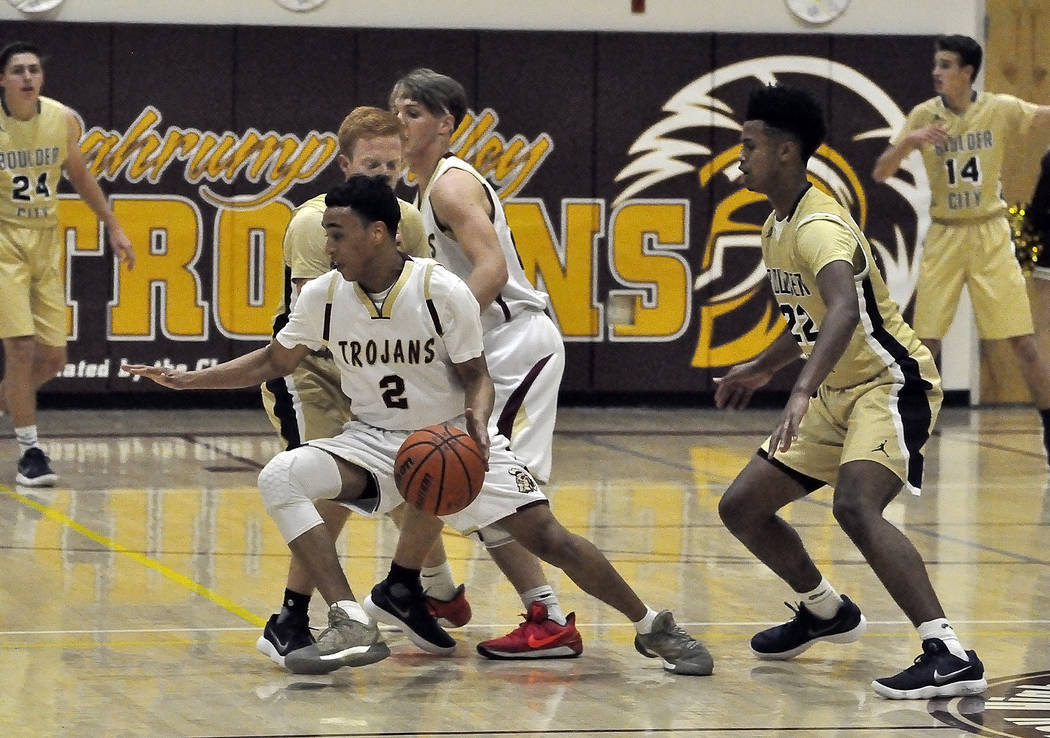 Horace Langford Jr./Pahrump Valley Times  Antonio Fortin of Pahrump Valley is shown in action earlier this week against Boulder City. Later in the  Fortin led four players in double figures with 2 ...