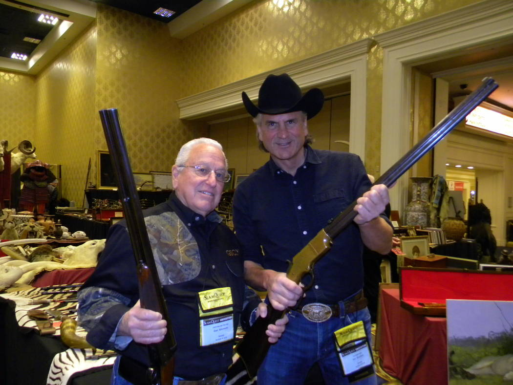 Dan Simmons/Special to the Pahrump Valley Times Columnist Dan Simmons (left) stands next to Jim Shockey, television producer and host of several hunting shows at a Las Vegas convention. Convention ...