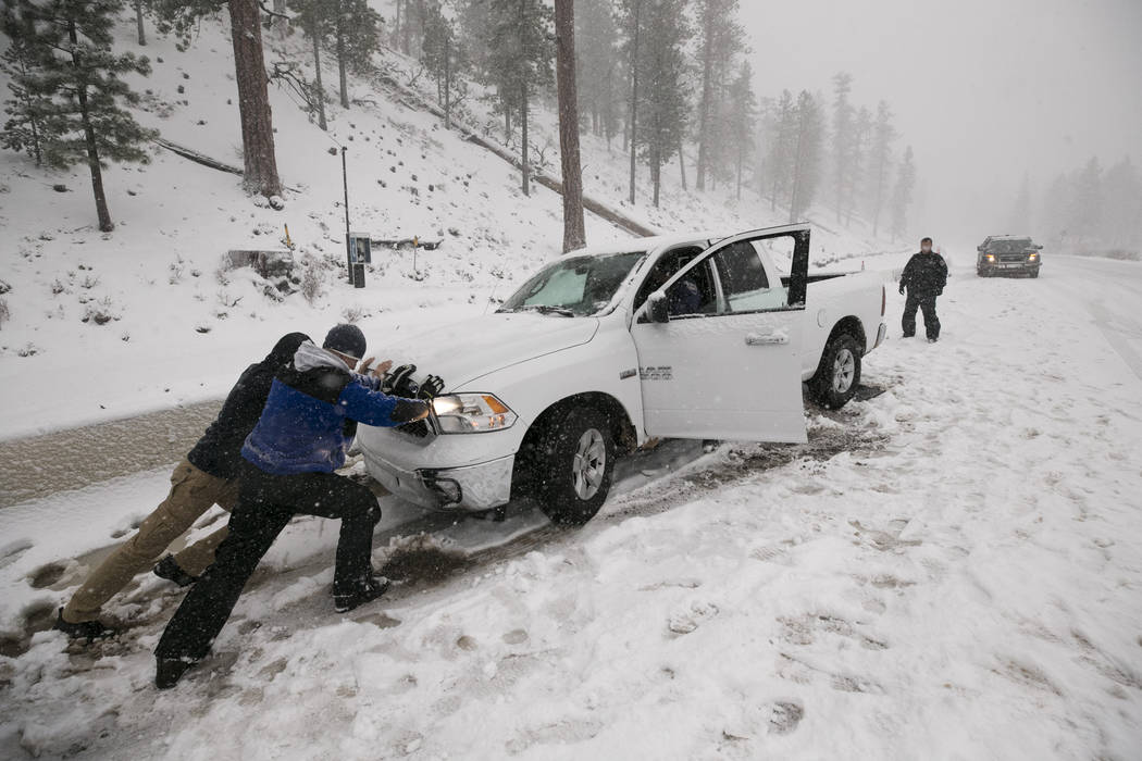 Richard Brian/Las Vegas Review-Journal  Snow covers the Upper Lee Meadows in Lee Canyon outside of Las Vegas, Tuesday, Jan. 9, 2018. A winter storm warning was issued for parts of the region.