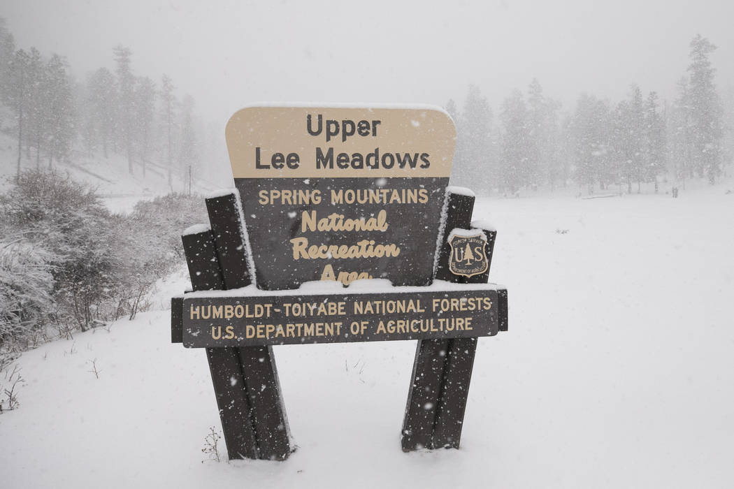 Richard Brian/Las Vegas Review-Journal Snow covers the Upper Lee Meadows in Lee Canyon outside of Las Vegas, Tuesday, Jan. 9, 2018.  Lee Canyon ski resort reported more than 14 inches of snow.