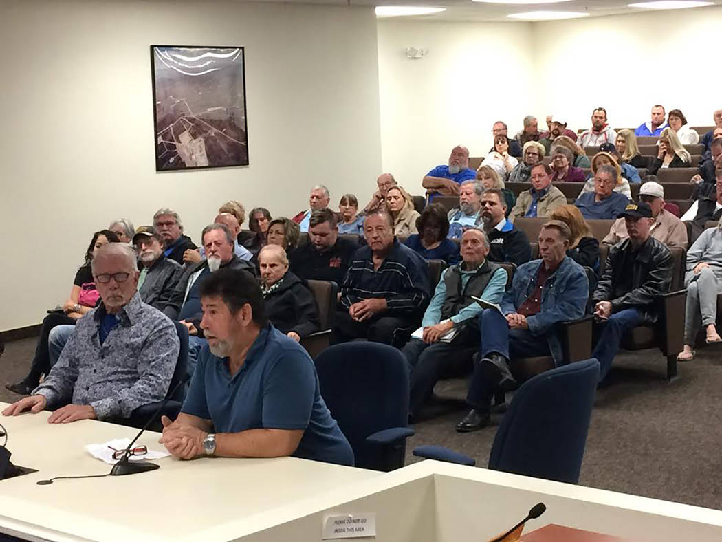 Robin Hebrock/Pahrump Valley Times Pahrump business owner Gerald Schulte was just one of dozens who spoke against Nevada State Engineer Order #1293 which requires water rights relinquishment for a ...