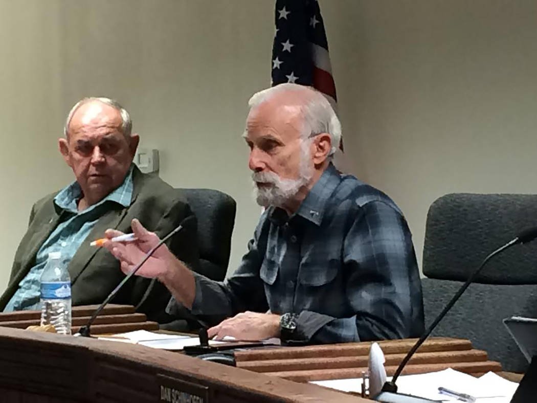 Robin Hebrock/Pahrump Valley Times Nye County Commission Chairman John Koenig was the swing vote during the Jan. 10 special meeting held by the Nye County Commission to address a water order issue ...
