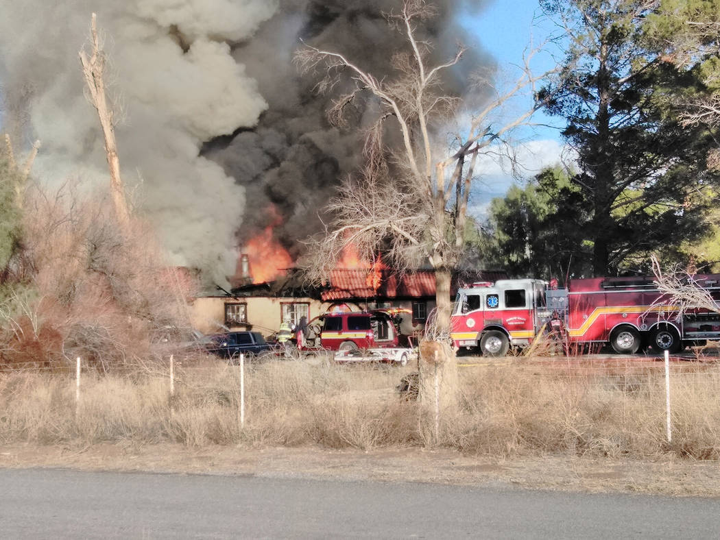 Selwyn Harris/Pahrump Valley Times  All occupants were evacuated during the start of a structure fire at the intersection of Manse Road and Whirlwind Avenue just before 3 p.m., on Wednesday aftern ...