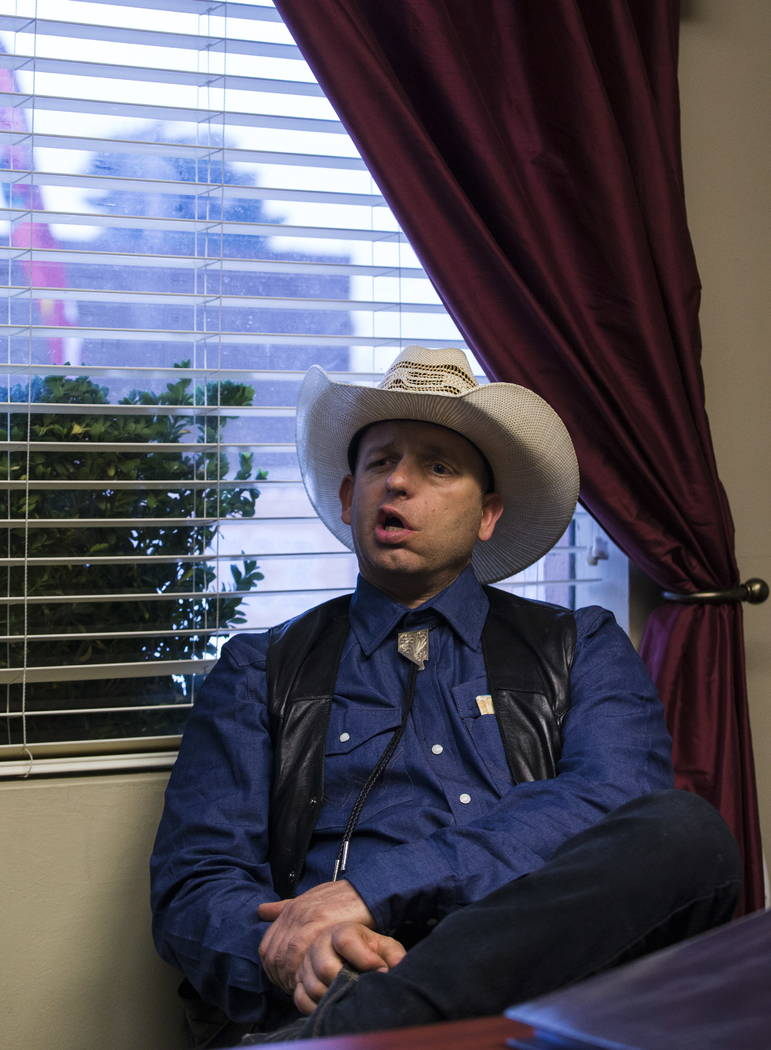 Ryan Bundy, son of Bunkerville rancher Cliven Bundy, at the office of defense attorney Bret Whipple in downtown Las Vegas on Tuesday, Jan. 9, 2018. Chase Stevens Las Vegas Review-Journal @cssteven ...