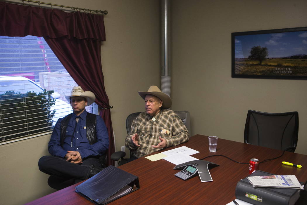 Ryan Bundy, left, and his father, Bunkerville rancher Cliven Bundy, at the office of defense attorney Bret Whipple in downtown Las Vegas on Tuesday, Jan. 9, 2018. Chase Stevens Las Vegas Review-Jo ...