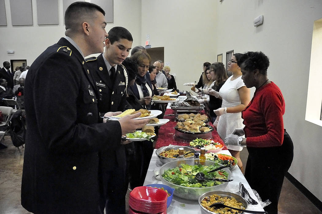 """Horace Langford Jr./Pahrump Valley Times A delegation of the Pahrump Valley High School JROTC program opened the MLK """"All People's Luncheon"""" on Monday at the Pahrump Community Church. Attendees en ..."""