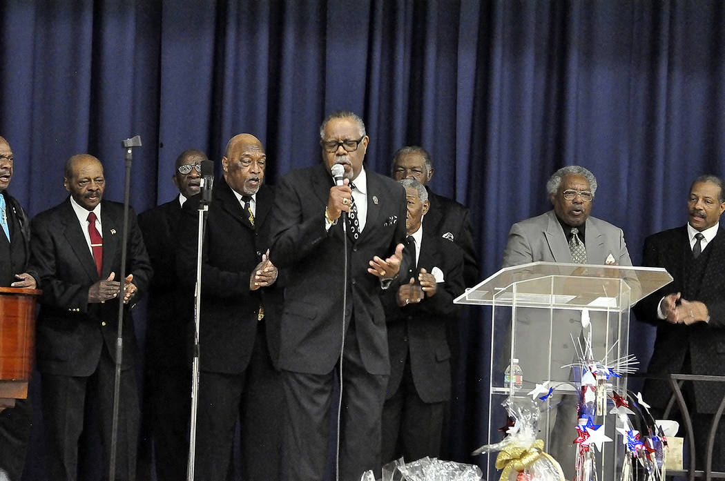 Horace Langford Jr./Pahrump Valley Times The Second Baptist Men's Chorus performed several selections at the 15th Annual MLK Day observance. More than 100 guests attended the ceremony, featuring o ...