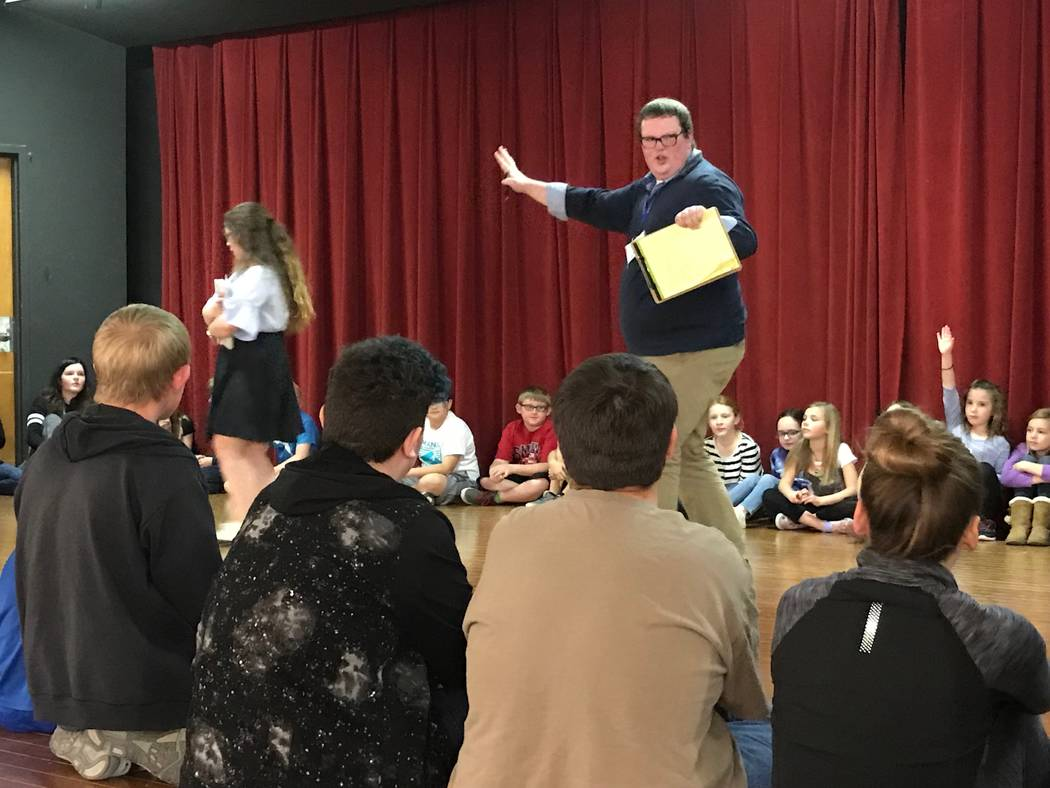 Jeffrey Meehan/Pahrump Valley Times Jonathan Handley, a director with the Missoula Children's Theatre, tells several school-aged kids to give their best performance to possibly be cast in the play ...
