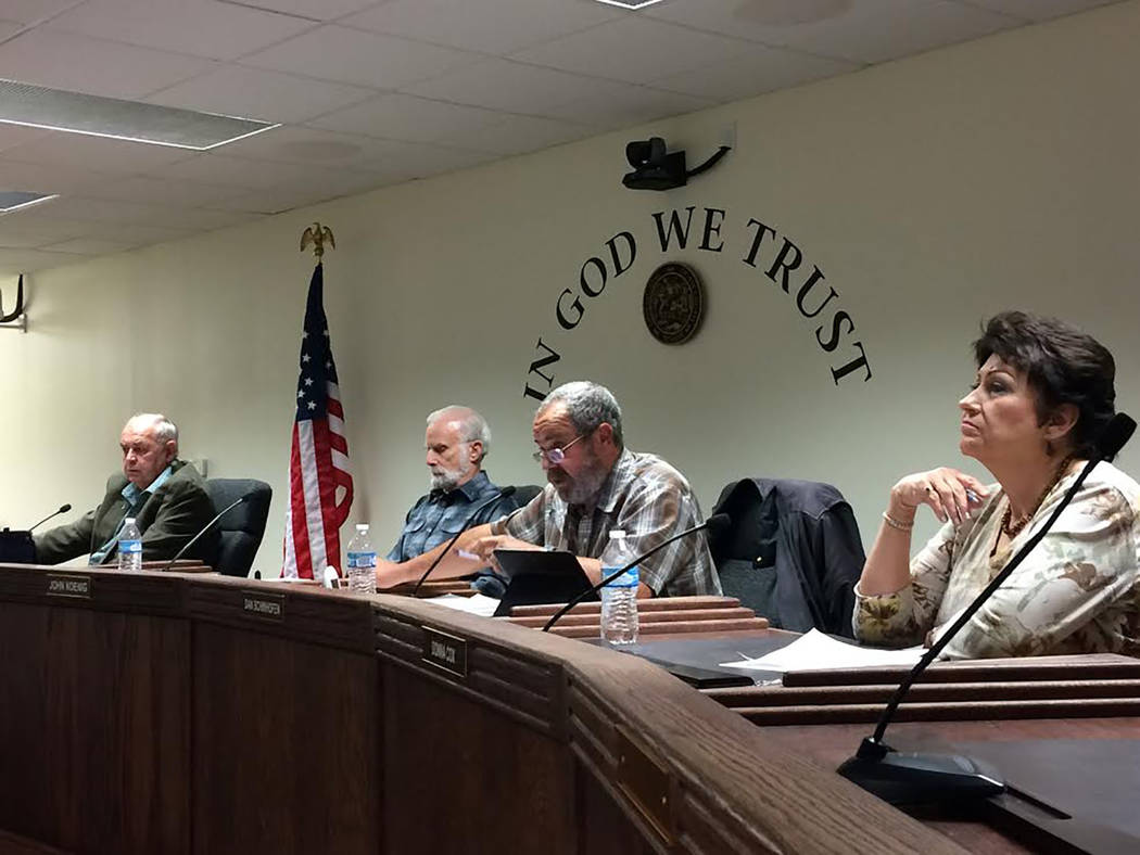 Robin Hebrock/Pahrump Valley Times From left to right are Nye County commissioners Butch Borasky, John Koenig, Dan Schinhofen and Donna Cox attending the commission's special meeting on Jan. 10.
