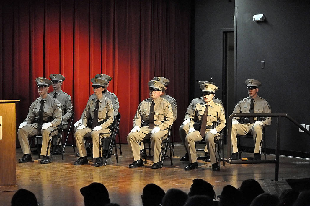 Horace Langford Jr./Pahrump Valley Times  Nine NCSO recruits listen intently as Lt. David Borouchowitz provides opening remarks at the sheriff's office graduation ceremony. NCSO Sgt. Adam Tippetts ...