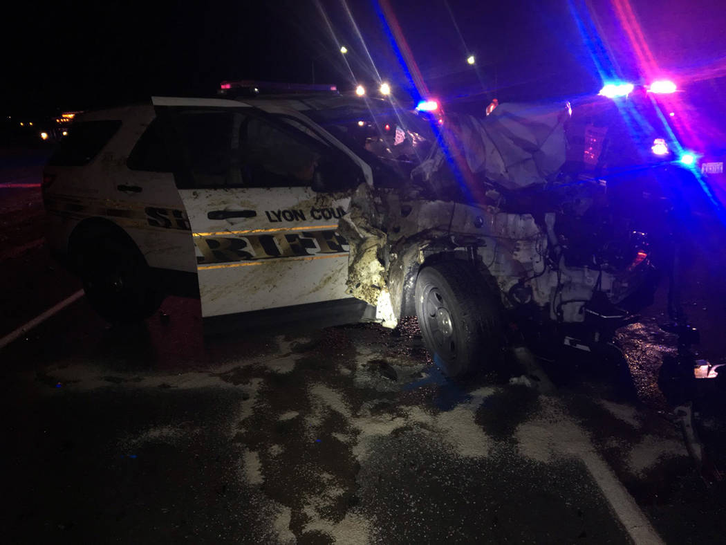 Nevada Highway Patrol The crash between a Lyon County sheriff's vehicle and three wild horses occurred along U.S. Highway 50 east of Dayton on Tuesday night.