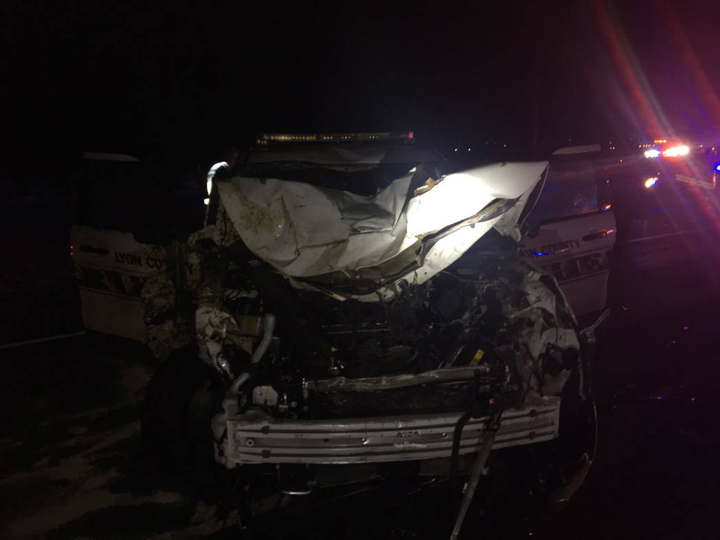Nevada Highway Patrol Injuries to a Lyon County deputy sheriff were non-life-threatening from the crash between a law enforcement vehicle and three wild horses on Tuesday night.