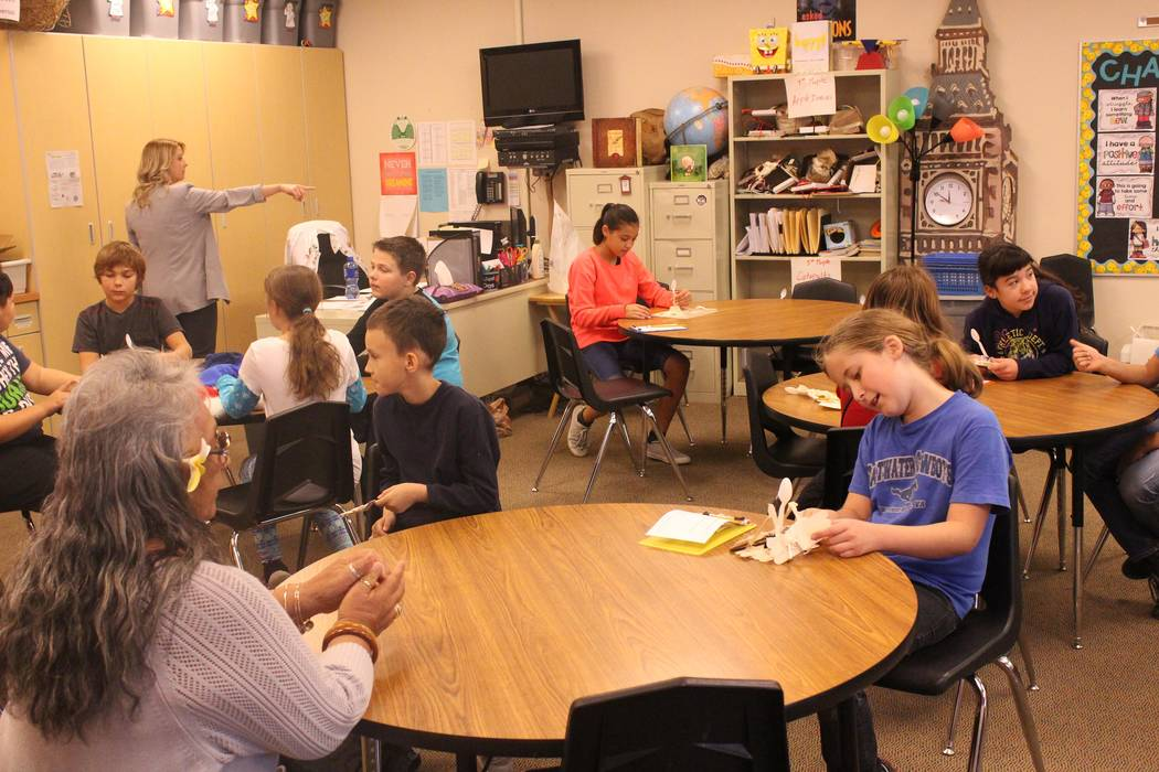 Jeffrey Meehan/Pahrump Valley Times Katrina Dietrich, a teacher at Floyd Elementary, leads a class of fifth graders in a new program focusing on STEAM (Science, Technology, Engineering, Art and Ma ...