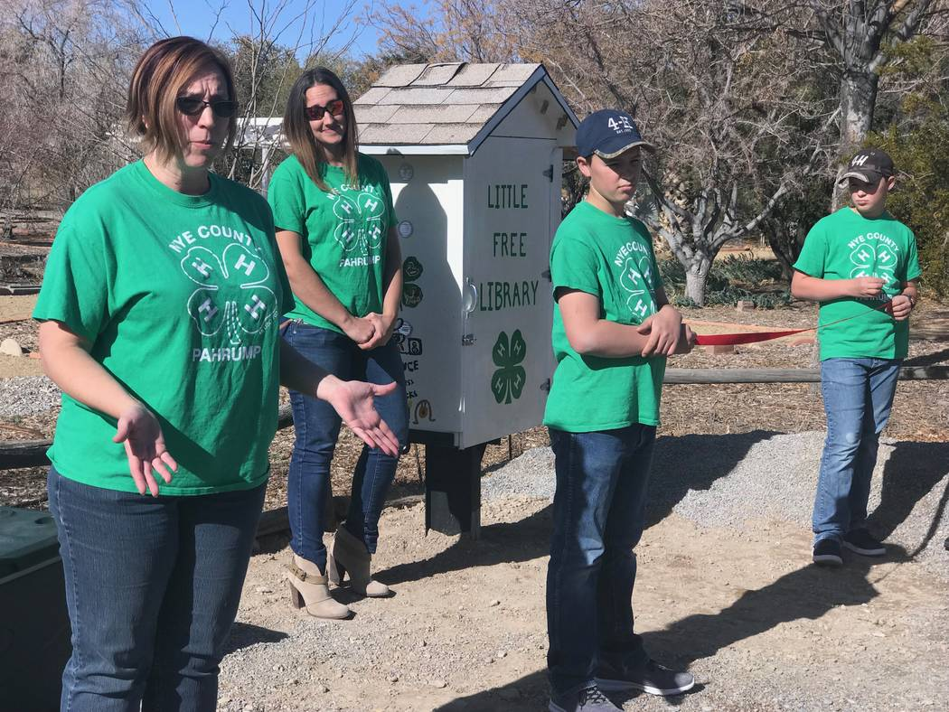 Jeffrey Meehan/Pahrump Valley Times Pahrump 4-H's Little Free Library, where people can exchange one book title for another, opened on Jan. 15, 2018 at 4-H's Annex building at 1651 E. Calvada Blvd ...
