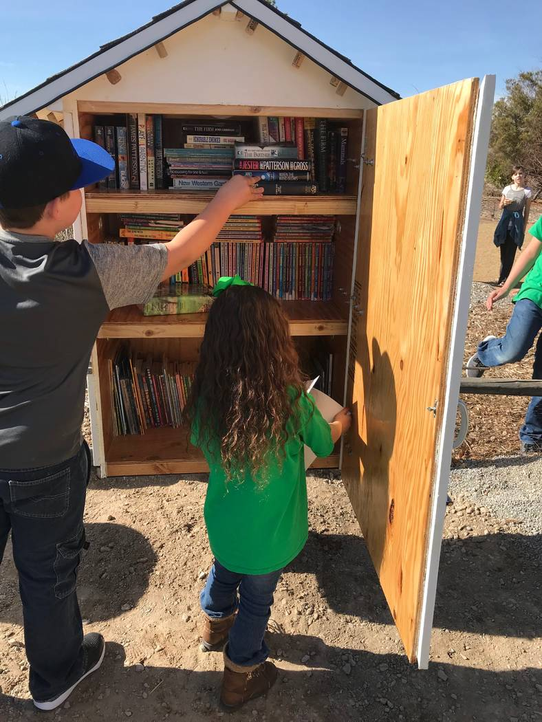 Jeffrey Meehan/Pahrump Valley Times From young children to adults, the Pahrump 4-H's Little Free Library has something to offer. The library sits in the parking lot just north of the Pahrump 4-H A ...