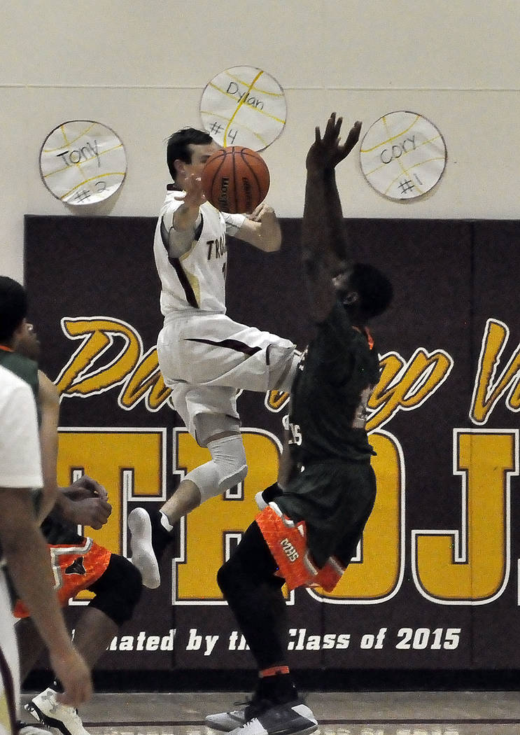 Horace Langford Jr./Pahrump Valley Times - Pahrump Valley's Bryce Odegard had nine points in his team's loss at Desert Pines on Wednesday. This photo shows Odegard in action this month against Moj ...