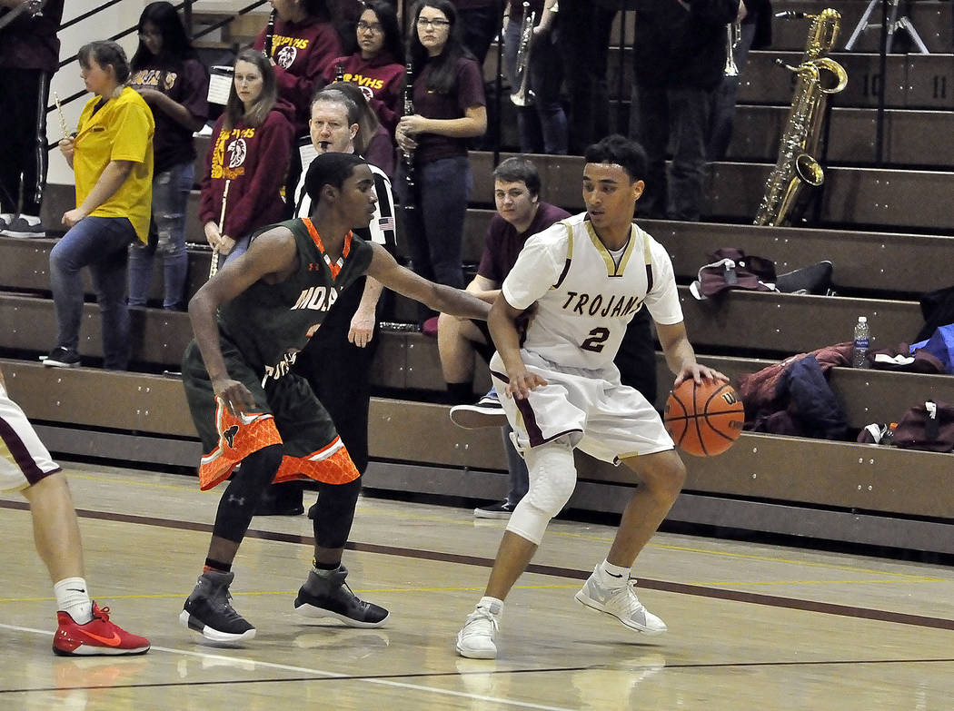 Horace Langford Jr./Pahrump Valley Times Antonio Fortin scored eight for Pahrump Valley on Wednesday night against Desert Pines. This photo shows him with the ball in last week's game against Moja ...