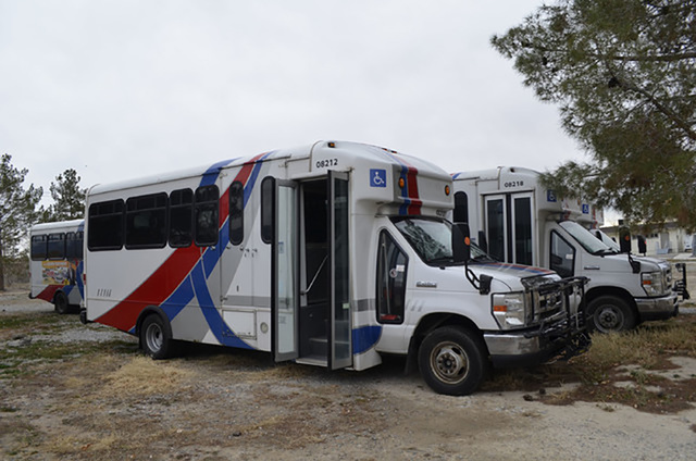 Special to the Pahrump Valley Times One of the buses used for the Pahrump Valley Public Transit service as shown in a 2016 photo. The buses are now operational and residents can schedule rides to  ...
